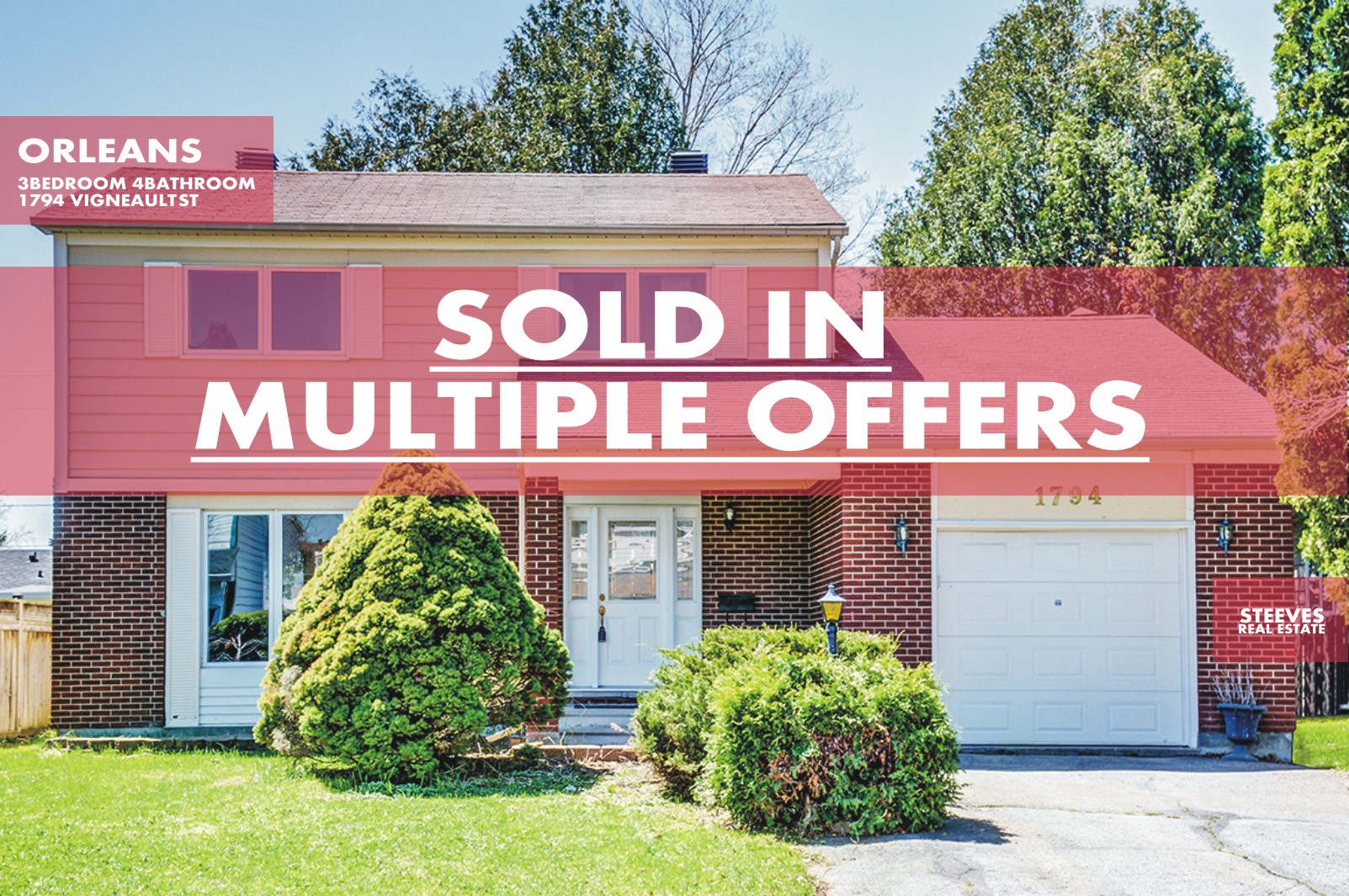 **SOLD**  -1794 VIGNEAULT ST – ORLEANS DETACHED HOME