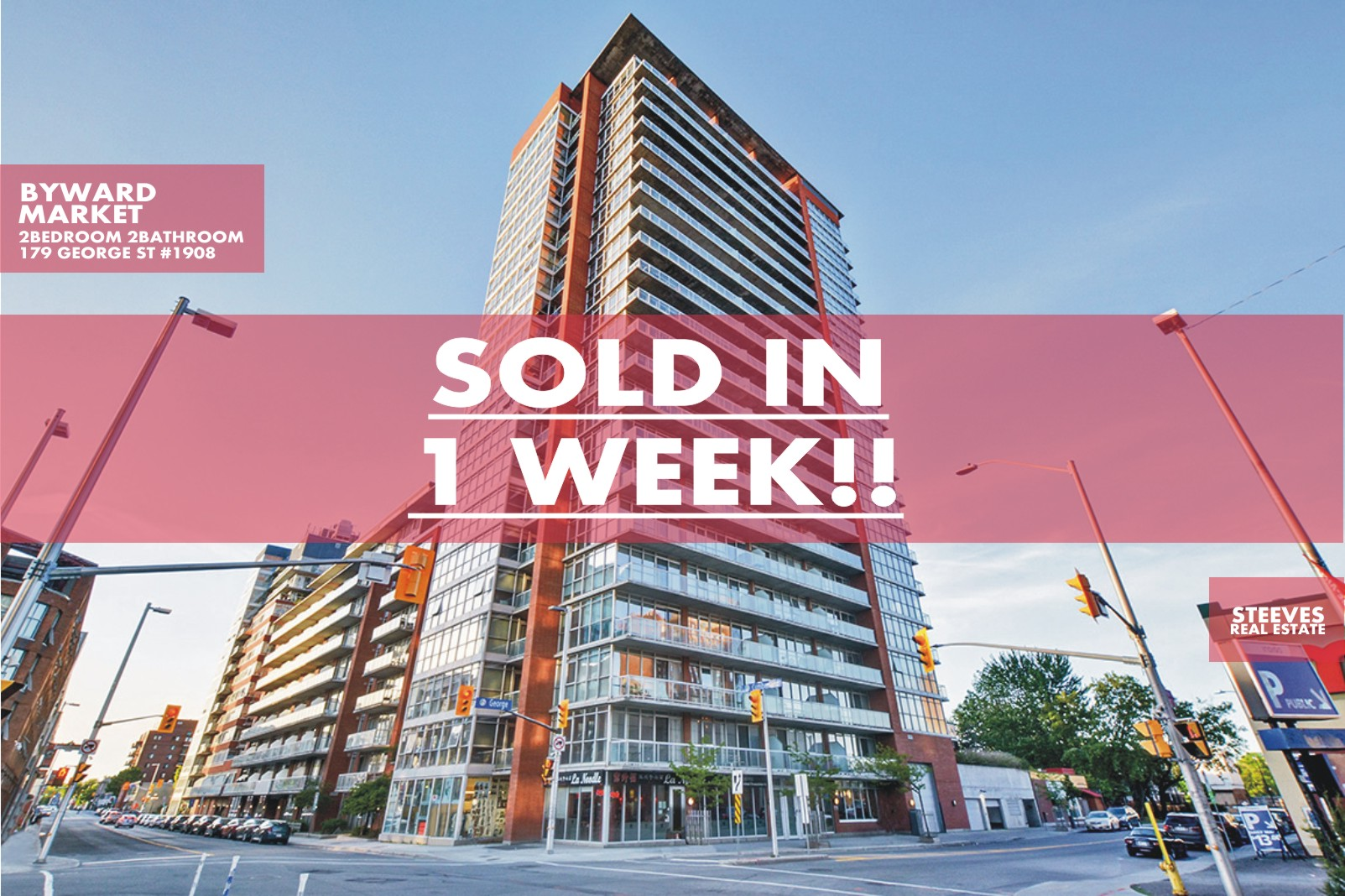 **SOLD**  – 179 GEORGE ST #1908 – BYWARD MARKET CONDO